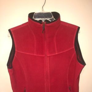 Red Oversized Pendleton zippered vest